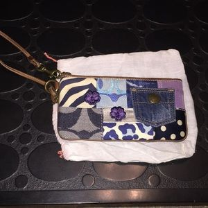 Coach Denim Suede Flower Patchwork Wristlet